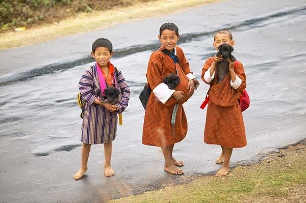 Bhutanese boys holding puppies