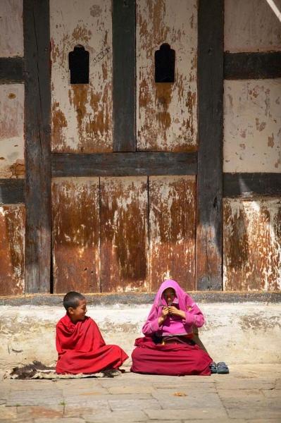 Young monks, sunbathing