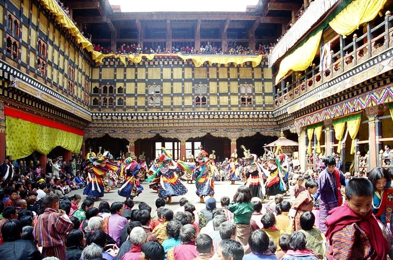 Paro festival inside Dzong